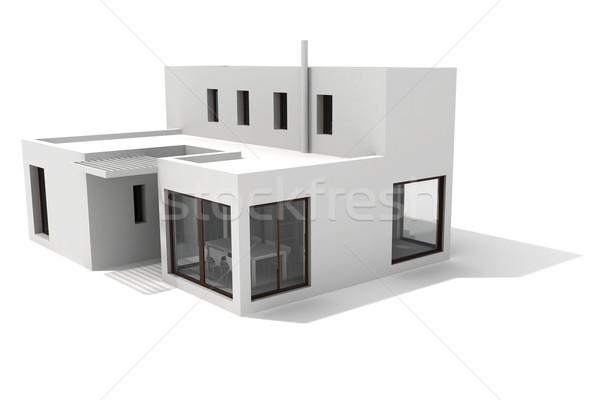3D 現代 家 白 家族 建物 ストックフォト © digitalgenetics