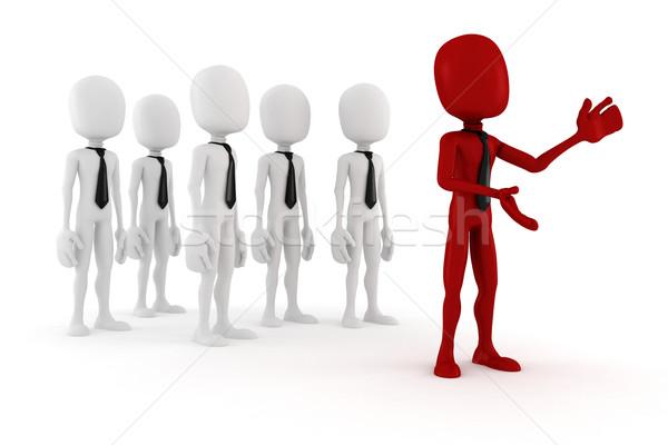 3d man leader foule 3D hommes Photo stock © digitalgenetics