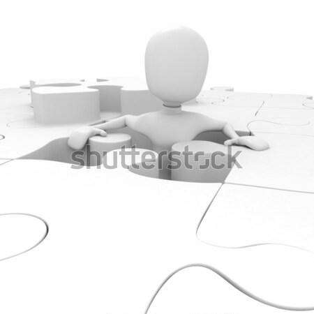 3次元の男 パズル ビジネス 抽象的な 金属 赤 ストックフォト © digitalgenetics