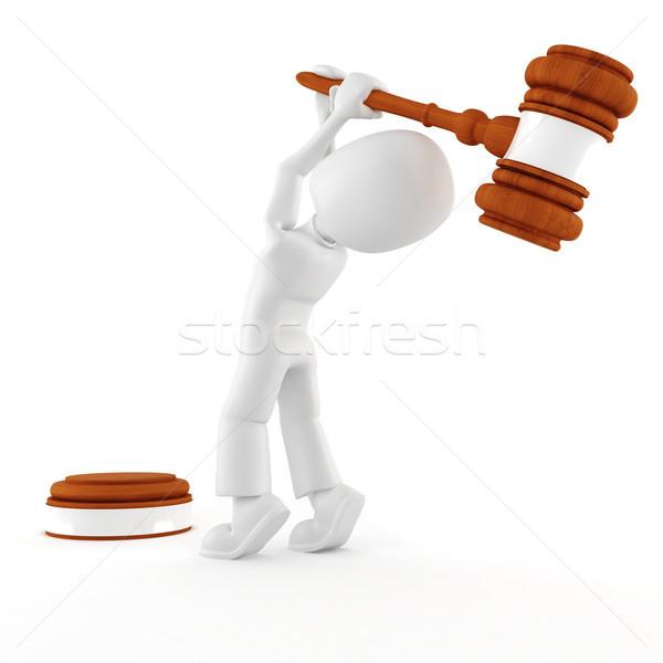 3d man holding a big gavel, isolated on white Stock photo © digitalgenetics