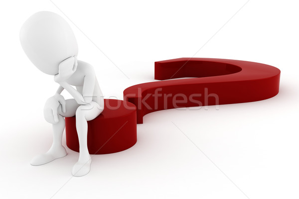 3d man sitiing on a big red question mark Stock photo © digitalgenetics