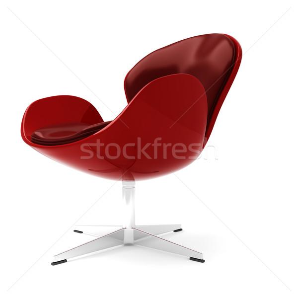 3d red leather armchair islated on white Stock photo © digitalgenetics