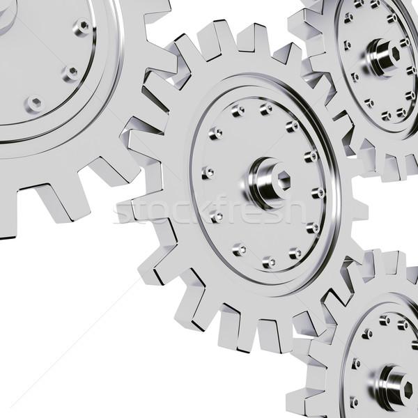 3d metal gear wheel render, on white background Stock photo © digitalgenetics