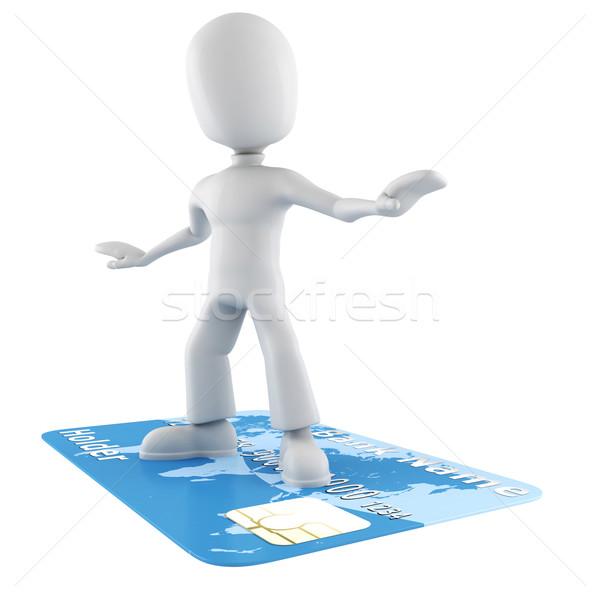 3d man surfing on a credit card Stock photo © digitalgenetics