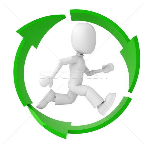3次元の男 を実行して リサイクル シンボル 女性 ストックフォト © digitalgenetics
