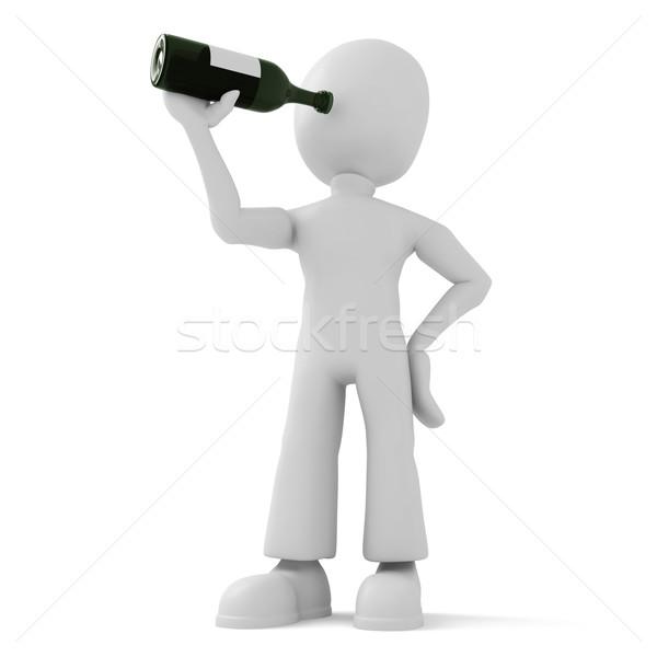 3d man and holding a bottle Stock photo © digitalgenetics