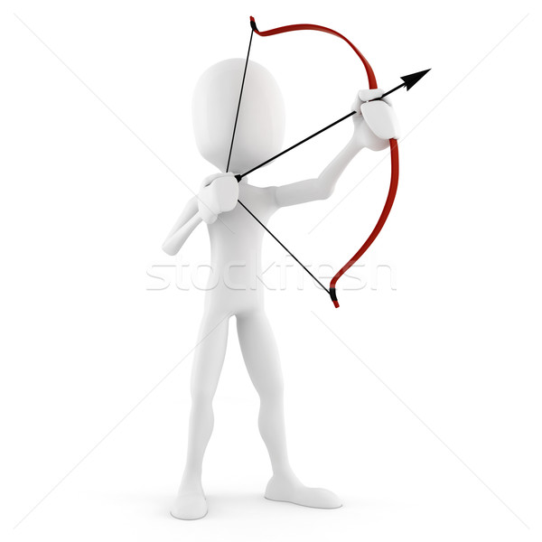Uomo 3d arciere isolato bianco imprenditore lavoratore Foto d'archivio © digitalgenetics