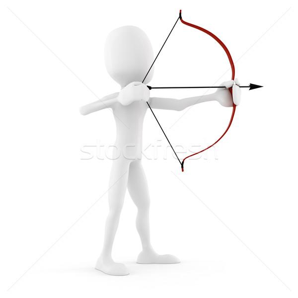 3d человек лучник изолированный белый бизнесмен работник Сток-фото © digitalgenetics