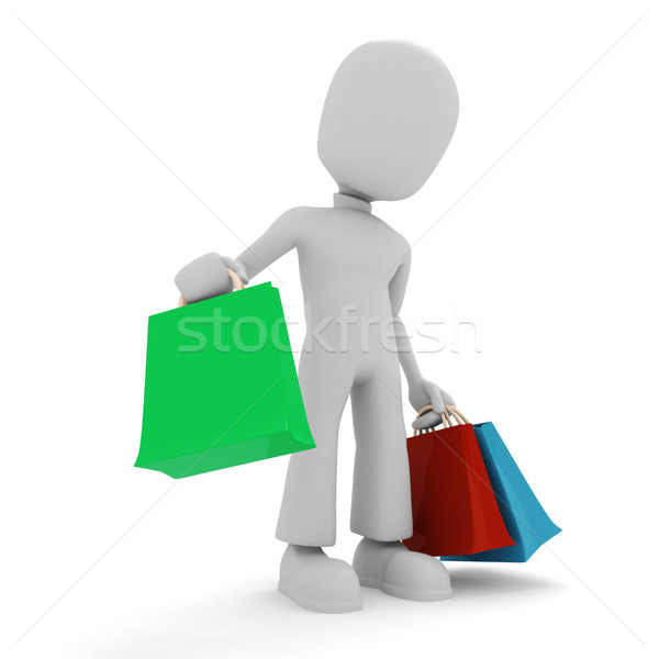 3d man and colorfull shopping bags Stock photo © digitalgenetics