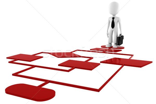 3d man on a red diagram chart Stock photo © digitalgenetics