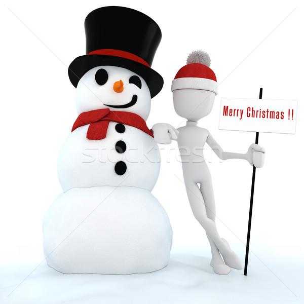 3d man and snow man , merry christmas ! Stock photo © digitalgenetics