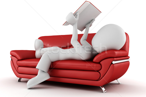 3d man sitting on a couch reading a book Stock photo © digitalgenetics