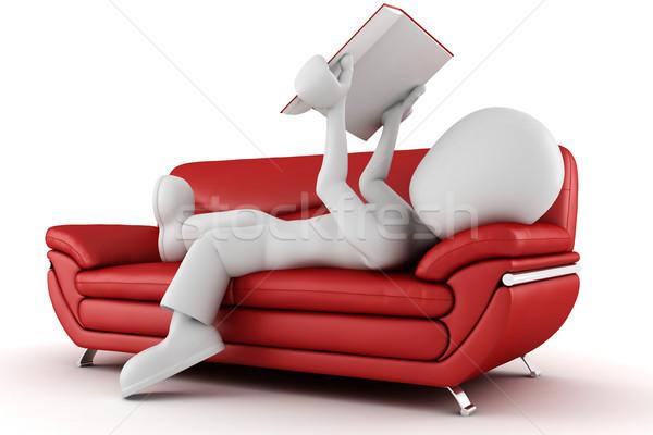 3次元の男 座って ソファ 読む 図書 ビジネス ストックフォト © digitalgenetics