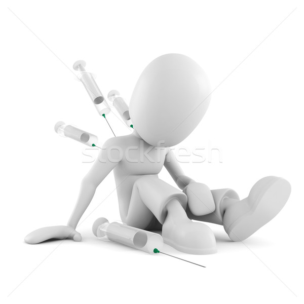 Stock photo: 3d man drug addict, on white background
