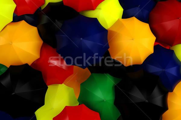 3d colorfull umbrellas Stock photo © digitalgenetics