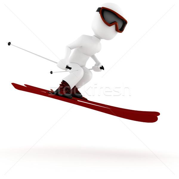 3d ember extrém téli sport égbolt férfi sport Stock fotó © digitalgenetics