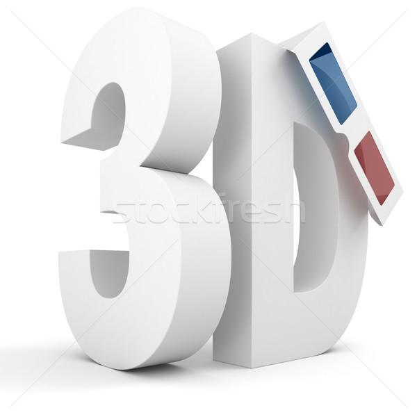 3d sign, red cyan, isolated on white Stock photo © digitalgenetics