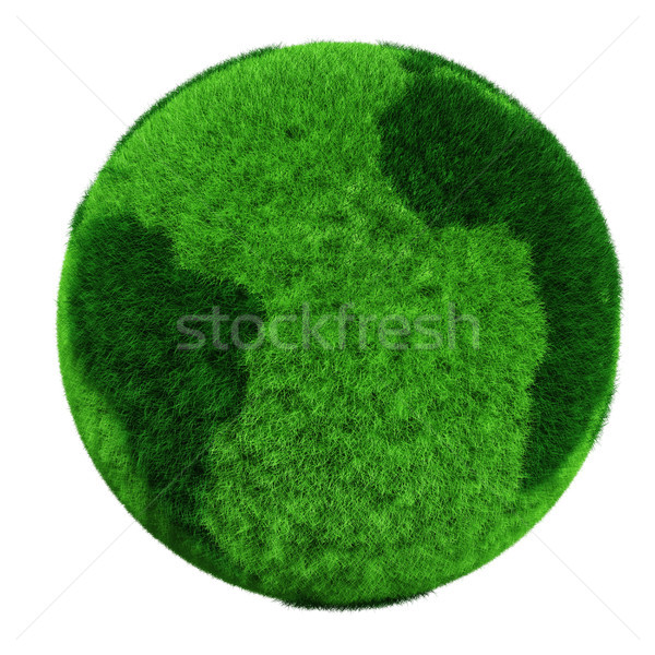 3d earth globe made of grass Stock photo © digitalgenetics