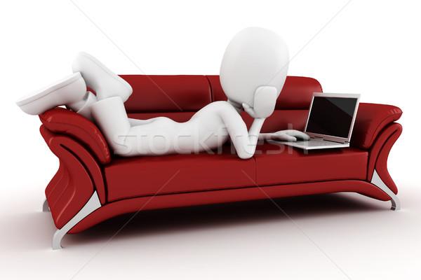 3d man with laptop sitting on a red sofa Stock photo © digitalgenetics