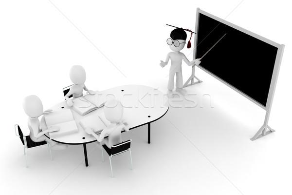 Mężczyzna 3d klasie nauczyciel studentów człowiek szkoły Zdjęcia stock © digitalgenetics