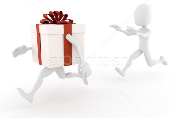 3次元の男 現在 ボックス 紙 男 背景 ストックフォト © digitalgenetics