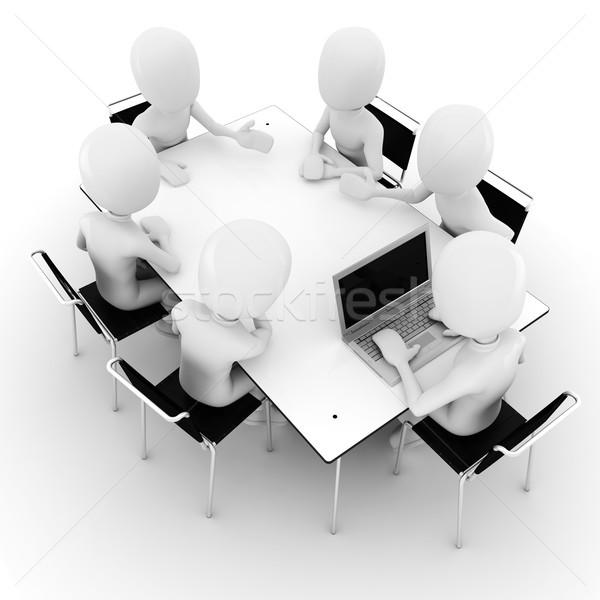 Foto stock: O · homem · 3d · reunião · de · negócios · isolado · branco · escritório · reunião