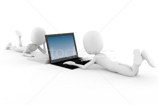 Mężczyzna 3d starych vs nowego technologii komputera Zdjęcia stock © digitalgenetics