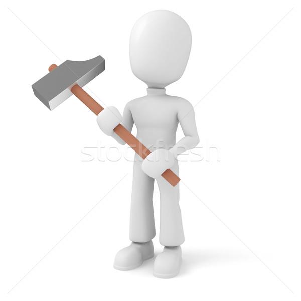 3d man with a hammer Stock photo © digitalgenetics