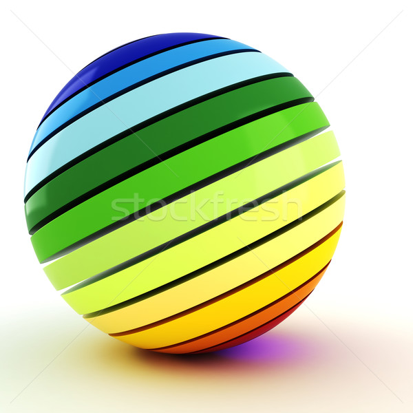 Stok fotoğraf: 3D · renkli · top · beyaz · dizayn · sanat