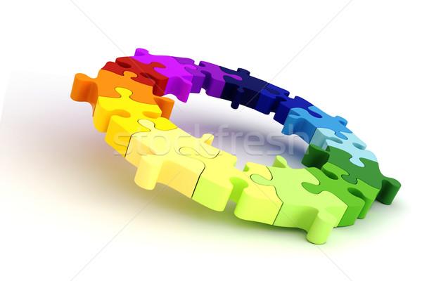 3D kolorowy puzzle wykres koła działalności Zdjęcia stock © digitalgenetics