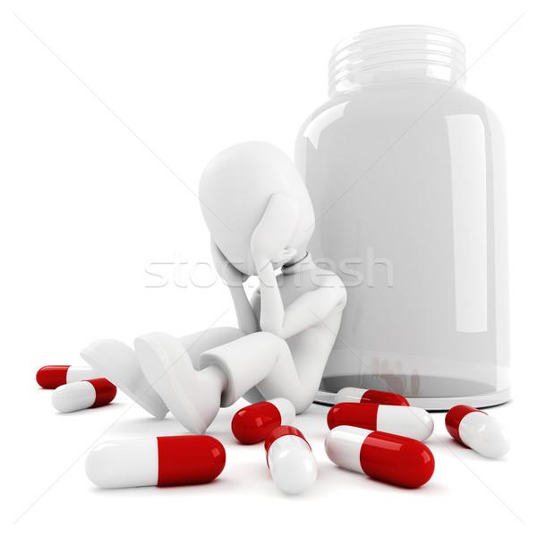 3d man and lots of pills, isolated on white Stock photo © digitalgenetics