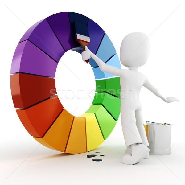 Uomo 3d pittura colore ruota uomo muro Foto d'archivio © digitalgenetics