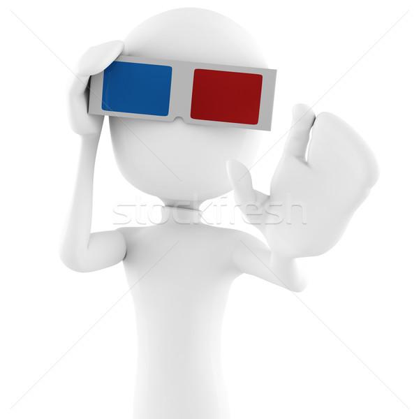 3d man with 3d glasses Stock photo © digitalgenetics