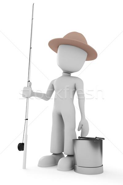 3d man fisherman Stock photo © digitalgenetics