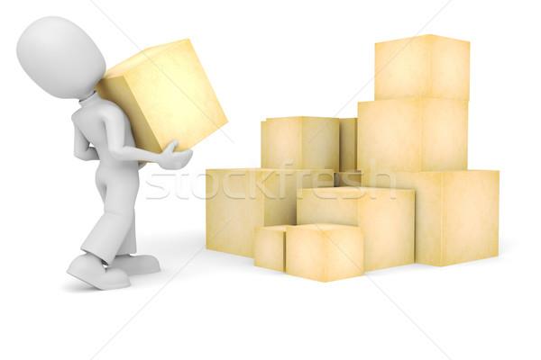 Uomo 3d scatole soldi uomo felice tecnologia Foto d'archivio © digitalgenetics