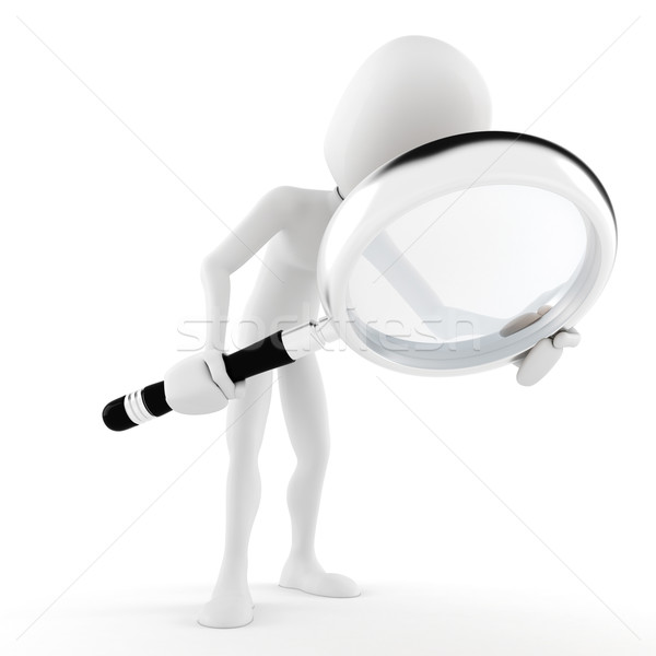 Stock photo: 3d man with a big magnifier glass