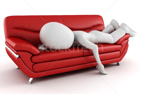 Uomo 3d stanco dormire divano uomo bambino Foto d'archivio © digitalgenetics