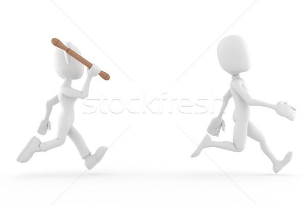 3d man and woman, problems in paradise :D Stock photo © digitalgenetics