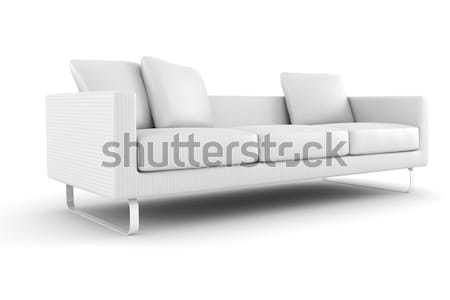 Foto stock: 3D · sofá · isolado · branco · casa · relaxar