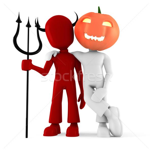 Stock fotó: 3d · ember · halloween · jelmez · buli · férfi · jókedv