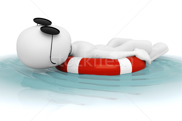 3次元の男 リラックス プール 海 夏 ボート ストックフォト © digitalgenetics