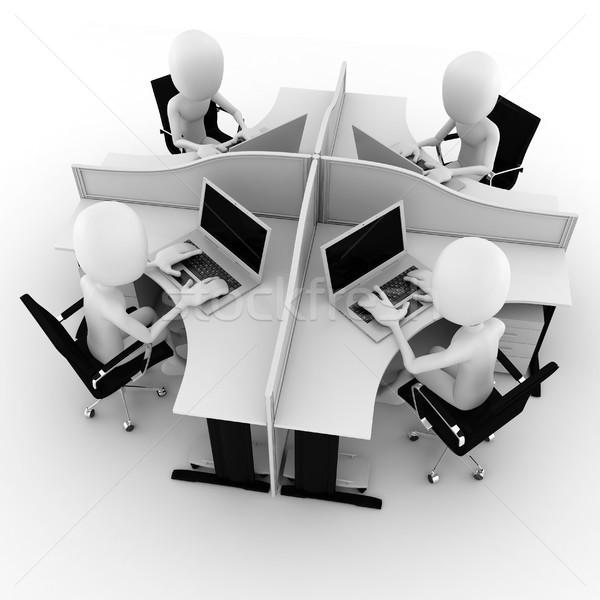 3d man, call center, isolated on white Stock photo © digitalgenetics