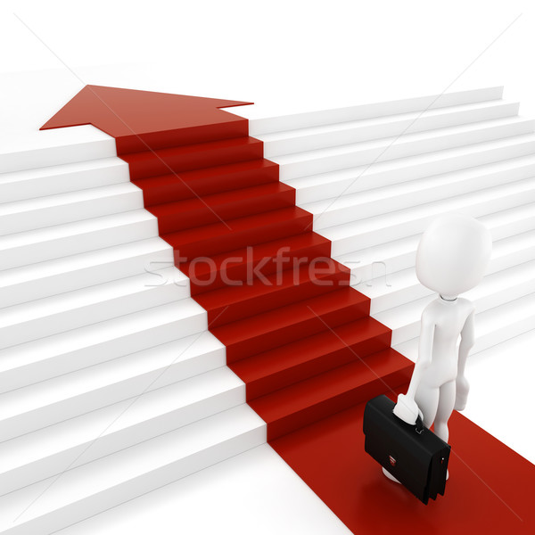 Stock photo: 3d man on red arrow going up