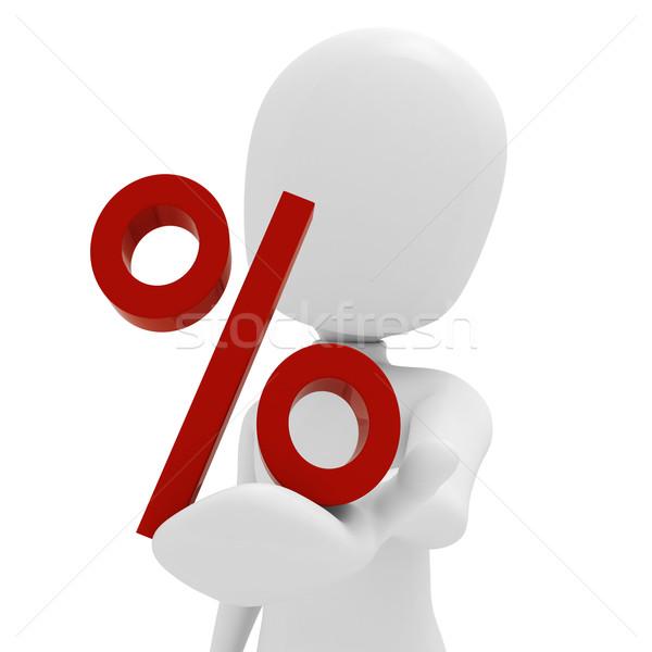 Uomo 3d percentuale simbolo business umani vendita Foto d'archivio © digitalgenetics