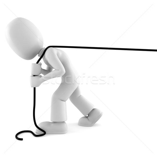 Uomo 3d corda isolato bianco uomo Foto d'archivio © digitalgenetics