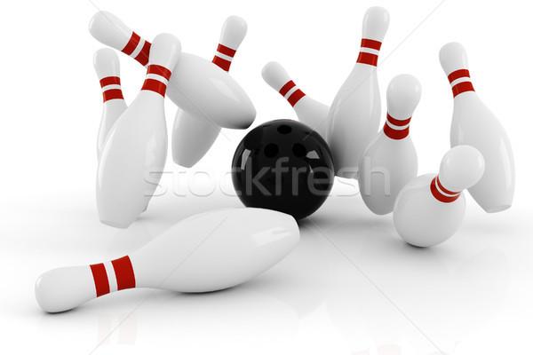 3D strajk drewna sportowe sztuki zabawy Zdjęcia stock © digitalgenetics