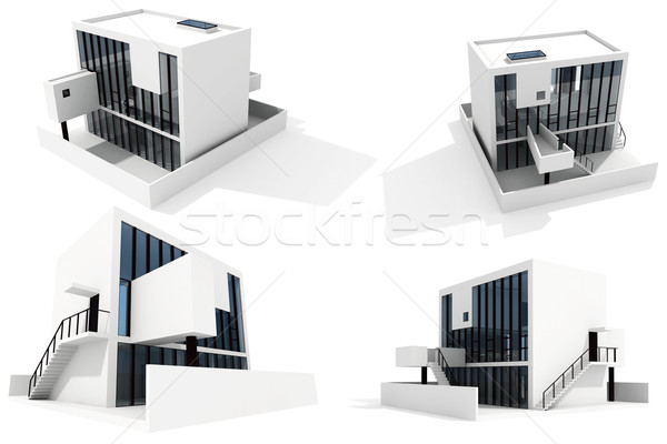 3d modern house, on white background Stock photo © digitalgenetics