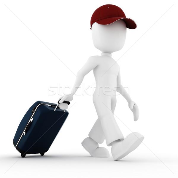 ストックフォト: 3次元の男 · 旅人 · 休暇 · 女性 · 青 · 黒