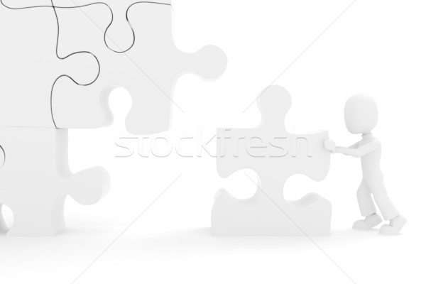 3d ember puzzle üzlet kéz férfi munka Stock fotó © CoraMax