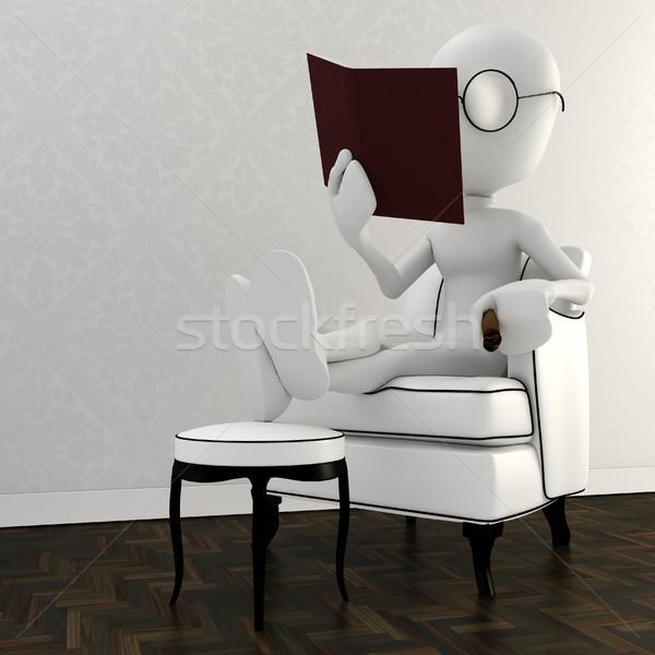 Mężczyzna 3d krzesło czytania książki papieru Zdjęcia stock © digitalgenetics